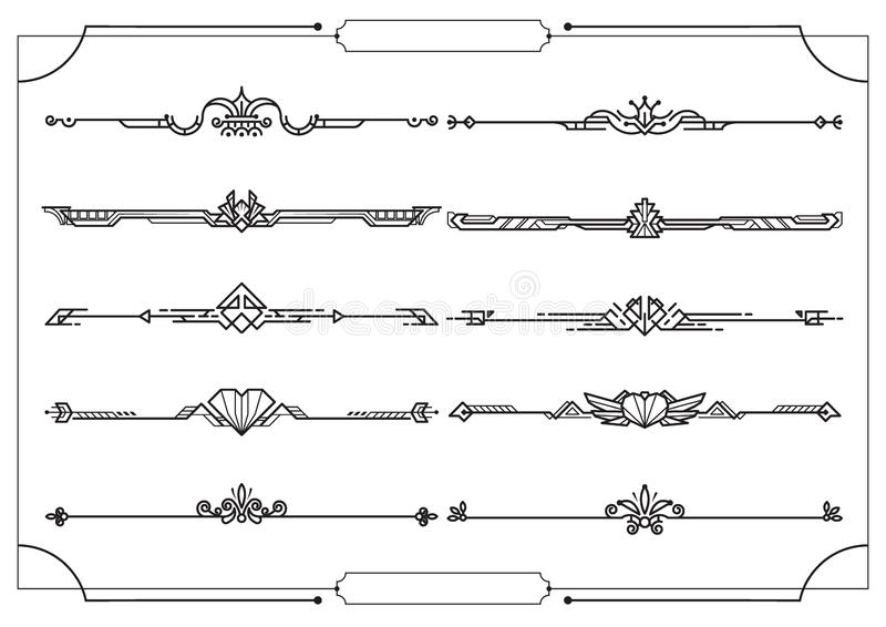 Set of dividers in border, vector decorative design elements vector illustration