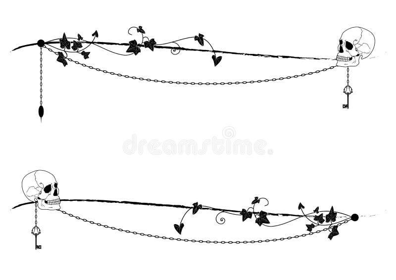 Set dividers z czaszką i kluczem ilustracja wektor
