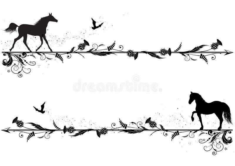 Set dividers z koniami ilustracji