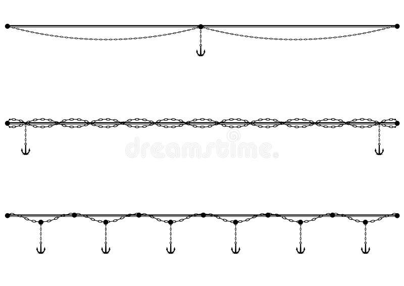 Set dividers z kotwicą i łańcuchem ilustracji