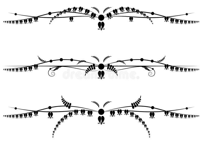Set dividers z kwiatami Dicentra royalty ilustracja