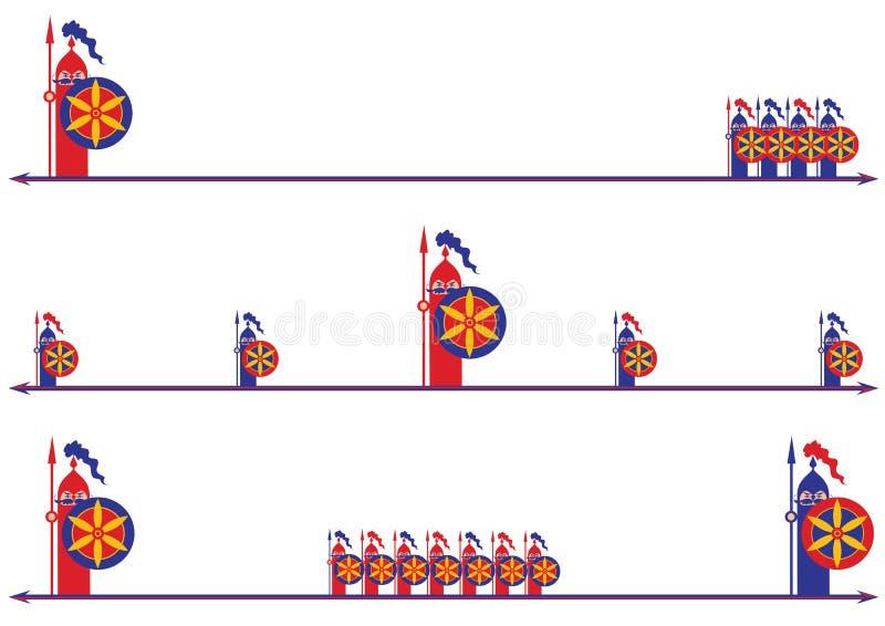 Set dividers z rycerzami royalty ilustracja