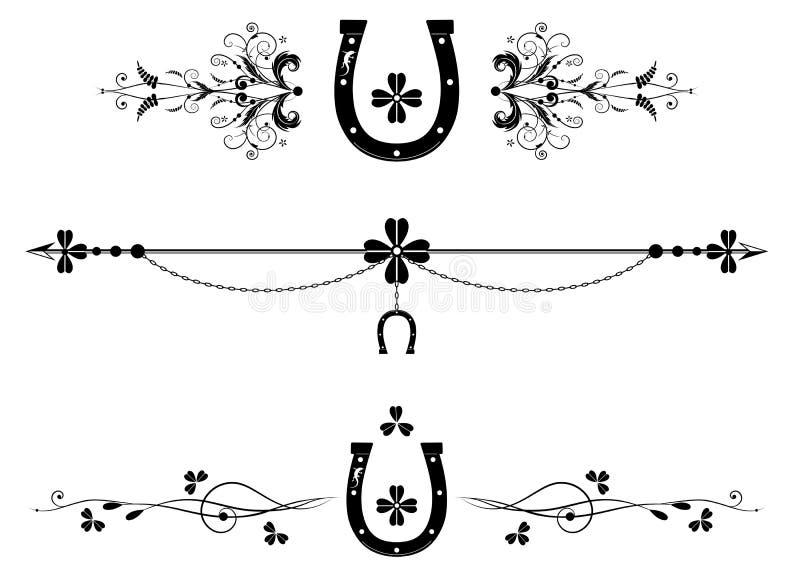 Set dividers z shamrock, podkową i jaszczurką, ilustracji