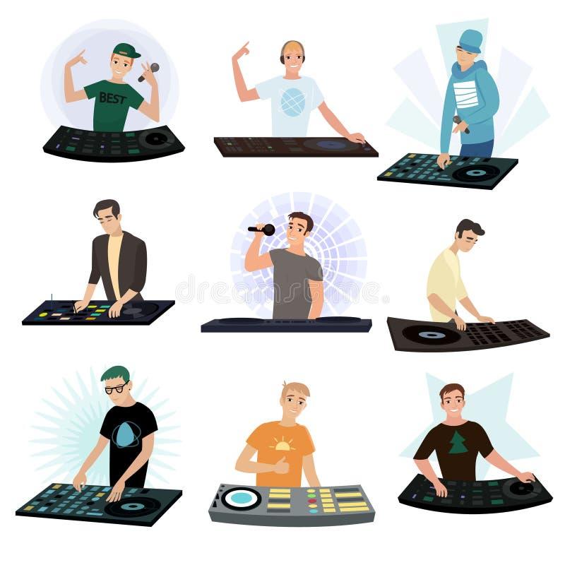 Set DJ charaktery miesza muzykę na turntable na białym tle ilustracja wektor