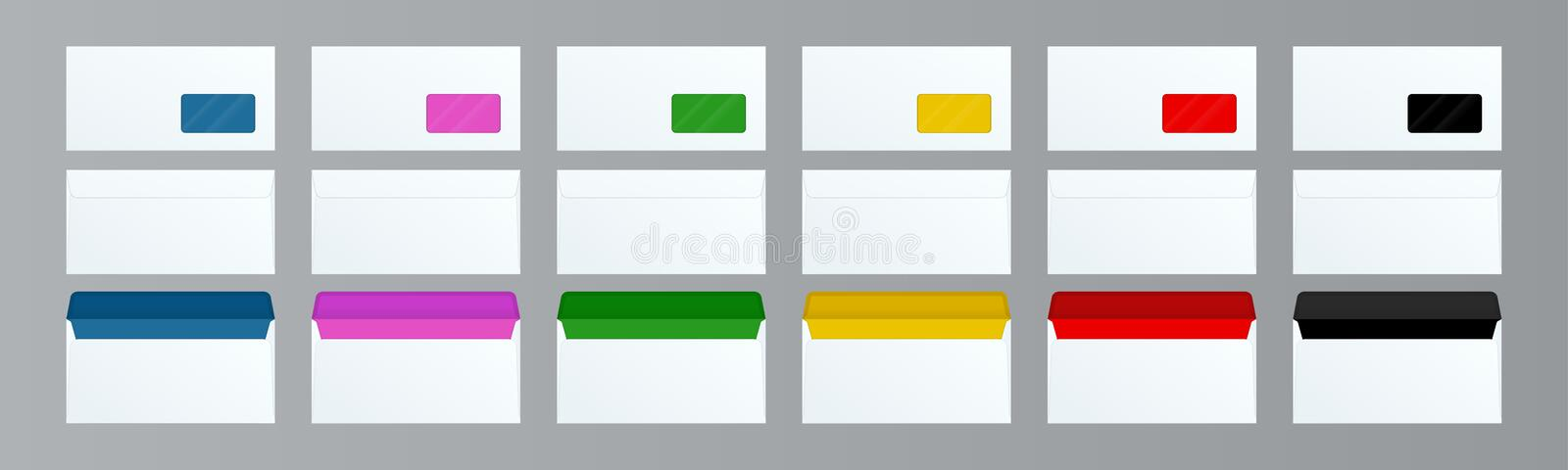 Set of DL Envelopes mockup front and back view for office document or message. White empty mail envelope with stock illustration