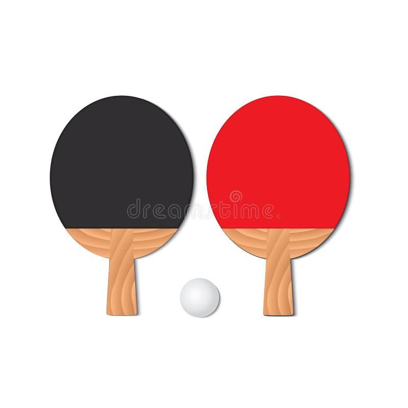 Set dla bawić się ping-ponga Dwa kanta i pingpongowej piłka fotografia stock