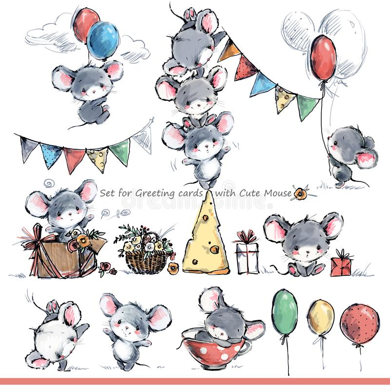 Set dla kartek z pozdrowieniami z ślicznymi myszami Śmieszna kreskówki mysz royalty ilustracja