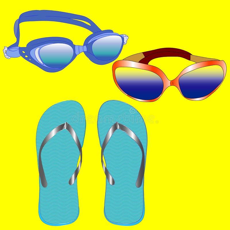 Set dla plażowego wakacje, akcesoria: szkła, podwodni szkła, trzepnięcie klapy Set na pogodnym tle royalty ilustracja