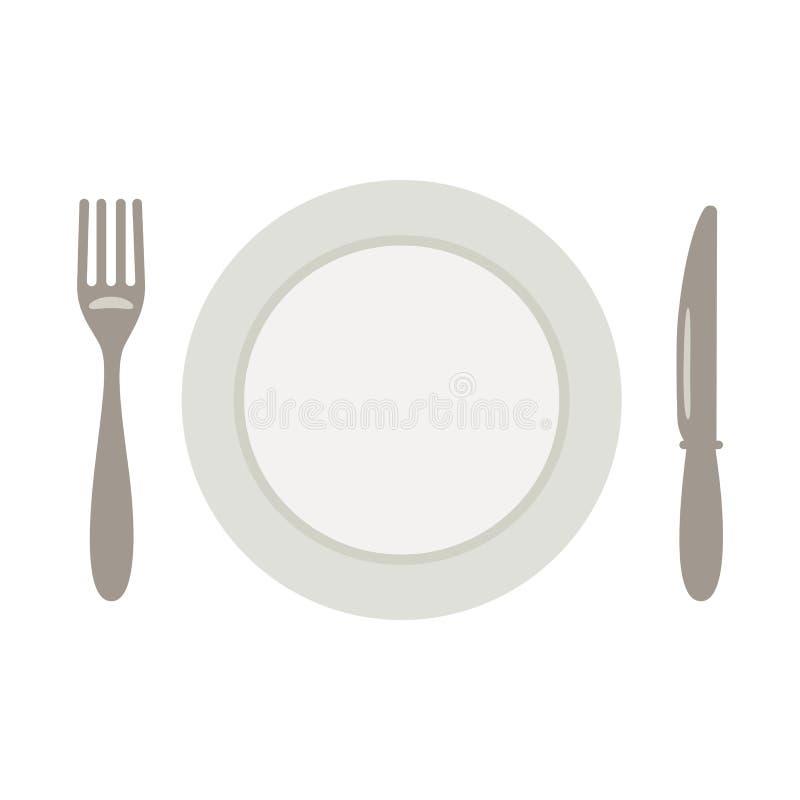Set dla posiłku, noża i talerza, rozwidlenie ilustracja wektor