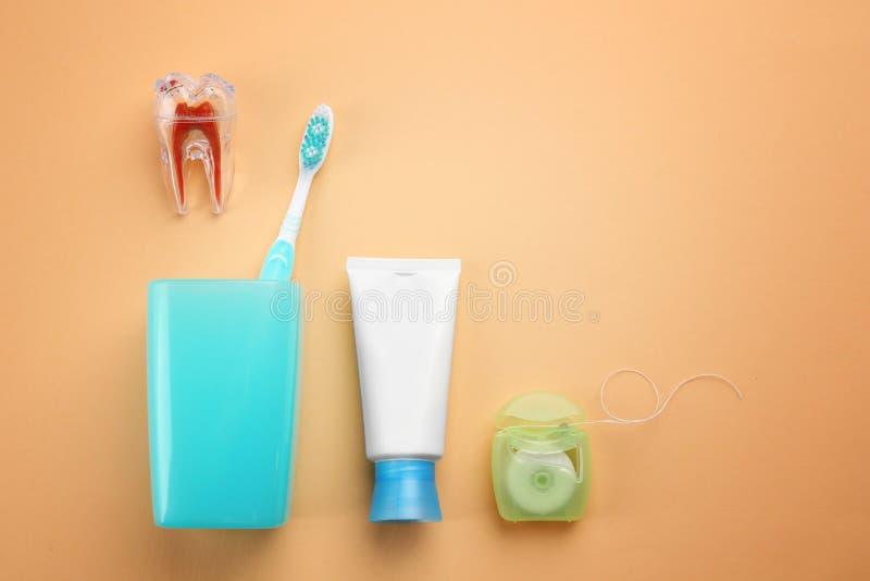 Set dla zębów czyścić zdjęcie stock