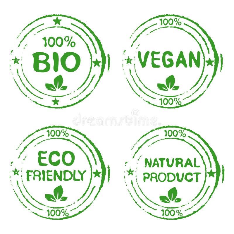 Set dla znaczków Naturalnych produktów ilustracja wektor