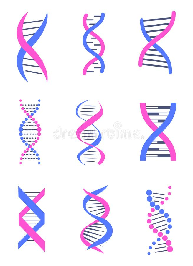 Set of DNA Thread Like Chains Colorful Banner royalty free illustration