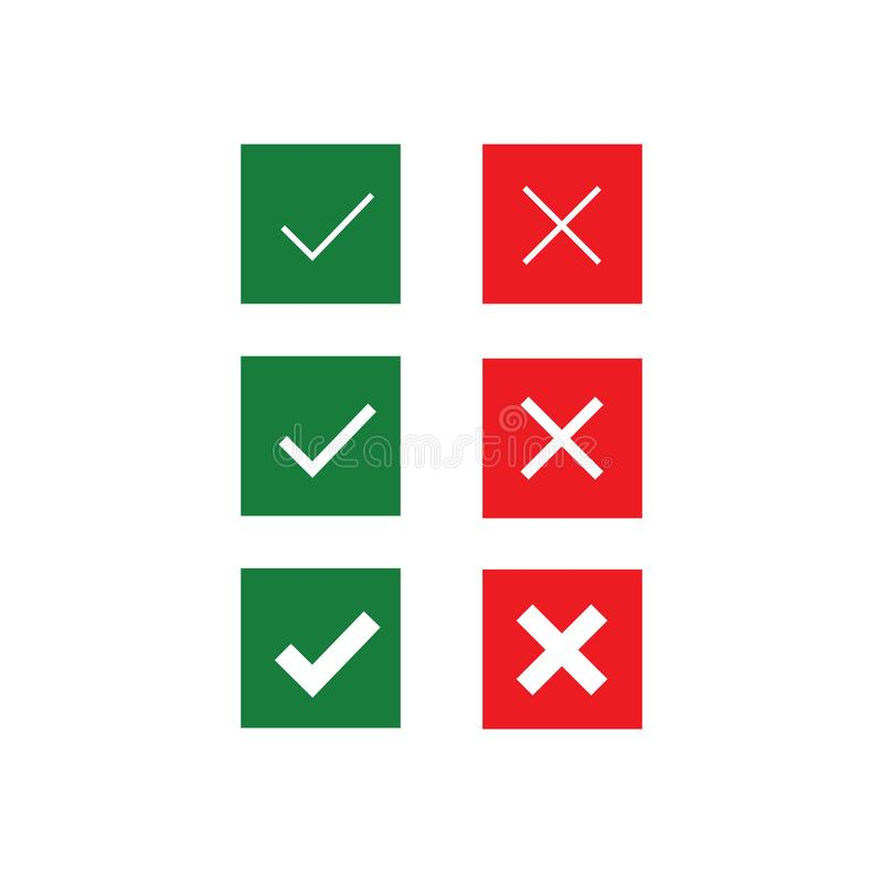 Set of Do and Don`t vector icons. Check tick and cross icons. Modern flat illustration. Filled rounded icons in circles for your stock illustration