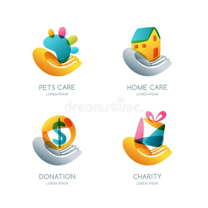 Set dobroczynności, darowizny i opieki logo, ikona, emblemat Pojęcie dla ochotniczego humanitarnego pomagać ilustracji