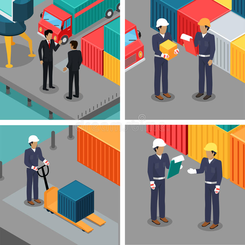 Set of Dock Workers at Warehouse. Vector. Set of dock workers at warehouse. Cargo worker and foreman. Supervisor check container data. Inspector control working vector illustration