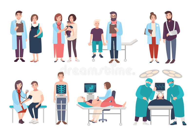 Set of doctors and patients in polyclinic, hospital. Visit to therapist, pediatrician, gynecologist, surgeon. medical stock illustration