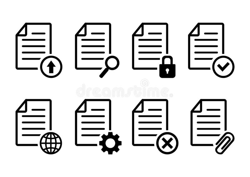 Set of document icons, file signs, web buttons. Vector. Illustration vector illustration