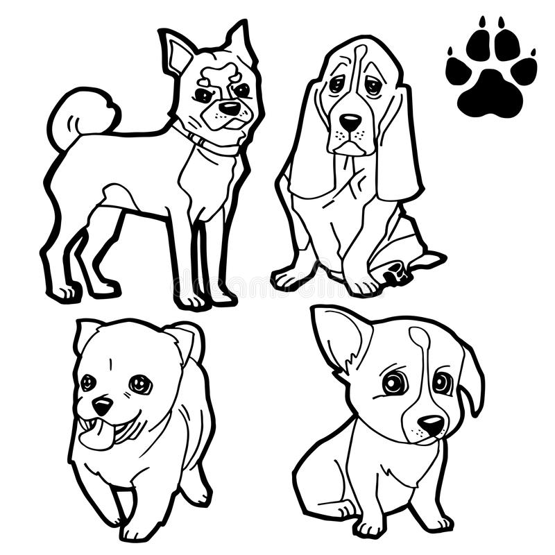 Download Set Of Dog Cartoon And Paw Print Coloring Book On White Background Vector Stock