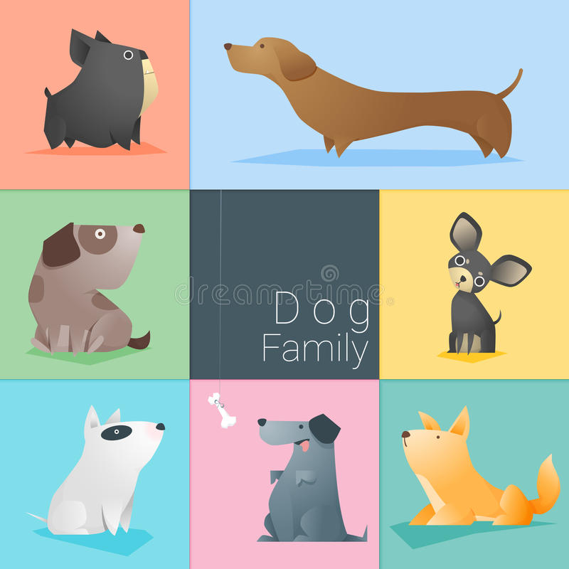 Set of dog family royalty free illustration