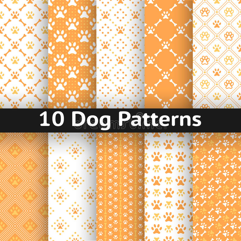 Set of dog seamless vector pattern of paw royalty free illustration