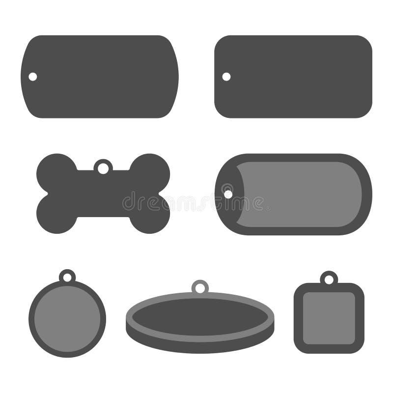 Set of dog tag id badges. Identification labels stock illustration