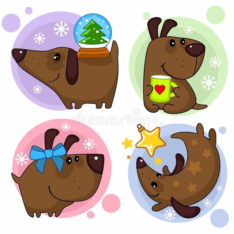 Set of dogs part 2. Set of cartoon illustrations with dogs for design. Image of a dog with a snow ball on his back, with a mug in the form of a heart, with a bow royalty free illustration