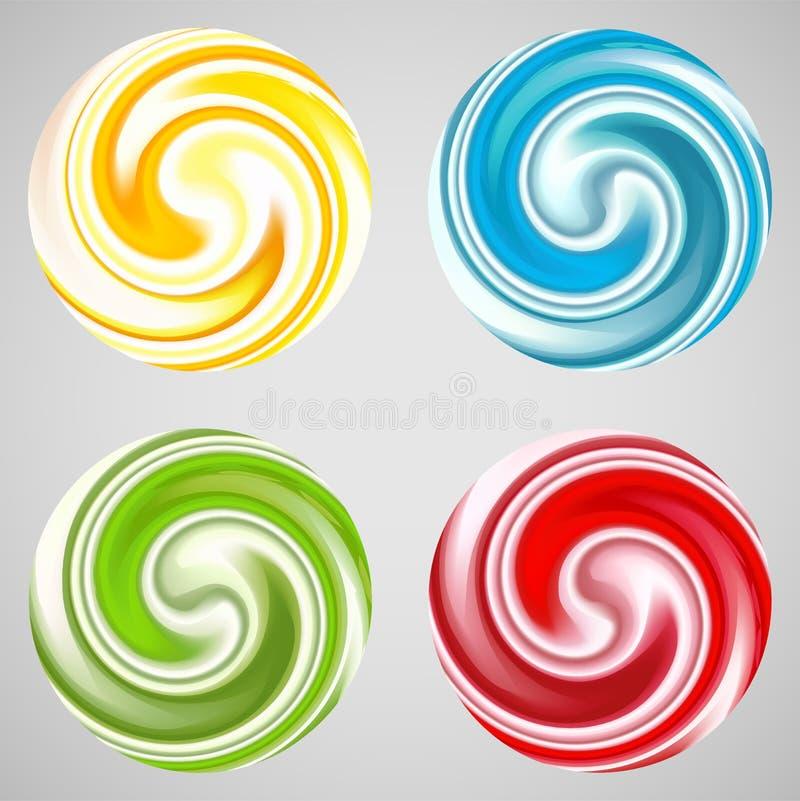 Set dojny jogurt śmietanki kędzior lub lizak. ilustracji