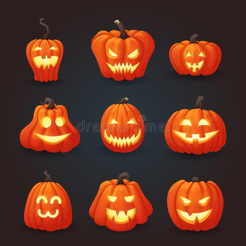 Set dojrzałe pomarańczowe Halloween banie iluminować od inside royalty ilustracja