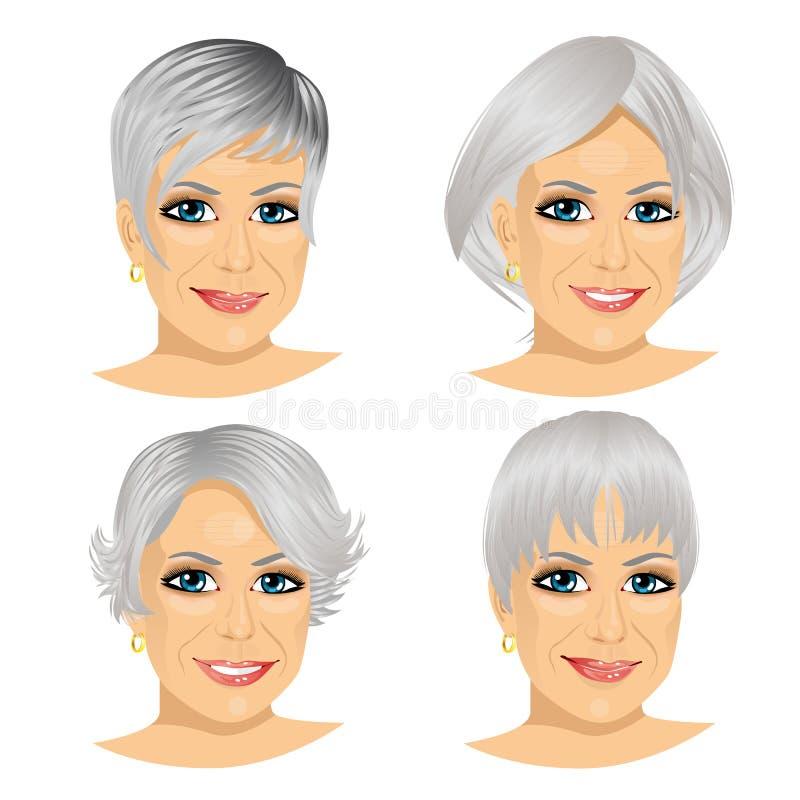 Set dojrzały kobiety avatar ilustracji
