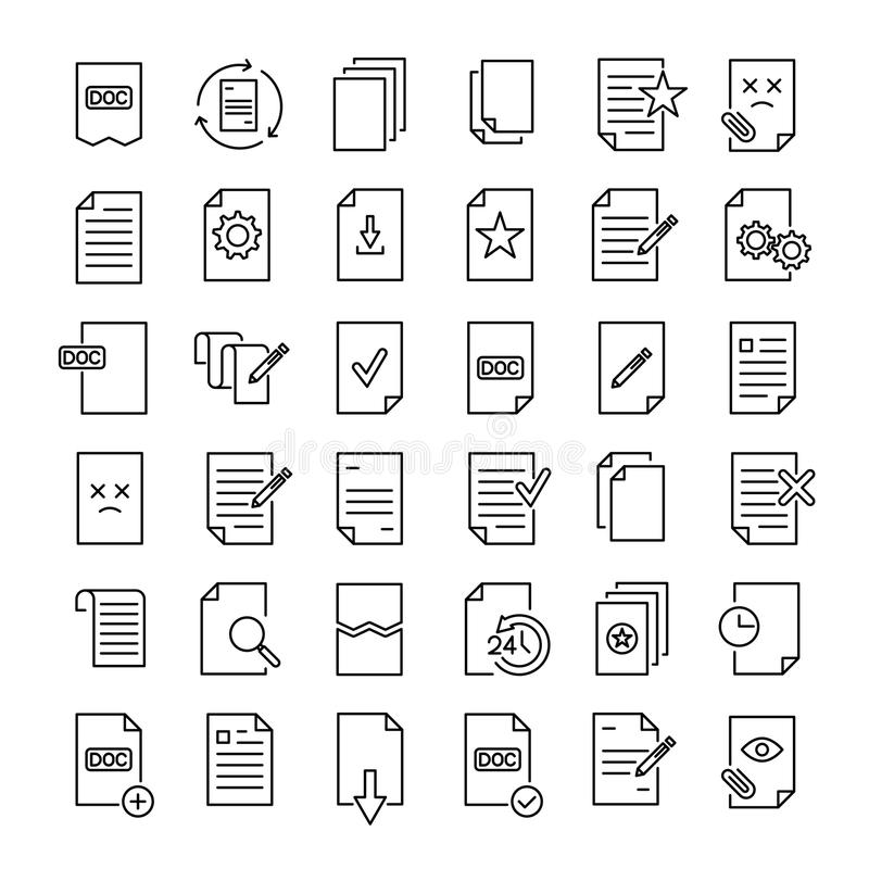 Set 49 dokumentów cienkich kreskowych ikon royalty ilustracja