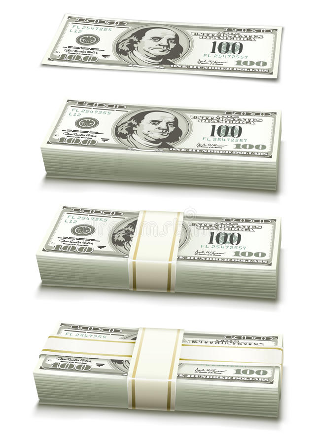 Set Of Dollar Bank Notes Packed Money Royalty Free Stock Photography