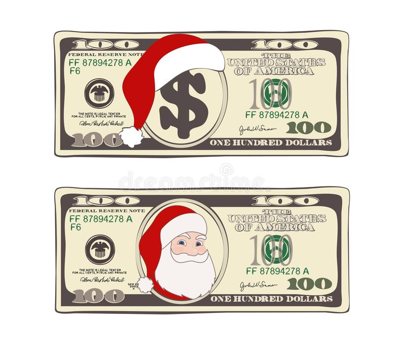Set of 100 dollar, Christmas bill one hundred dollar with Santa Claus and red hat. royalty free stock image