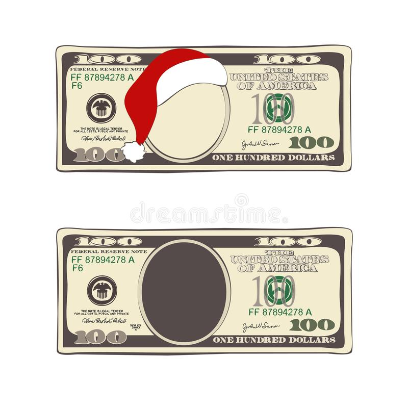 Set of 100 dollar, Christmas bill one hundred dollar with Santa Claus red hat. stock photos