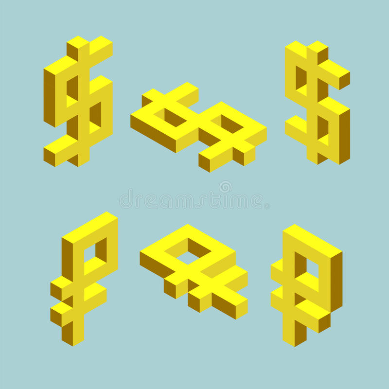 Set of dollar and ruble signs. Cubes form vector illustration