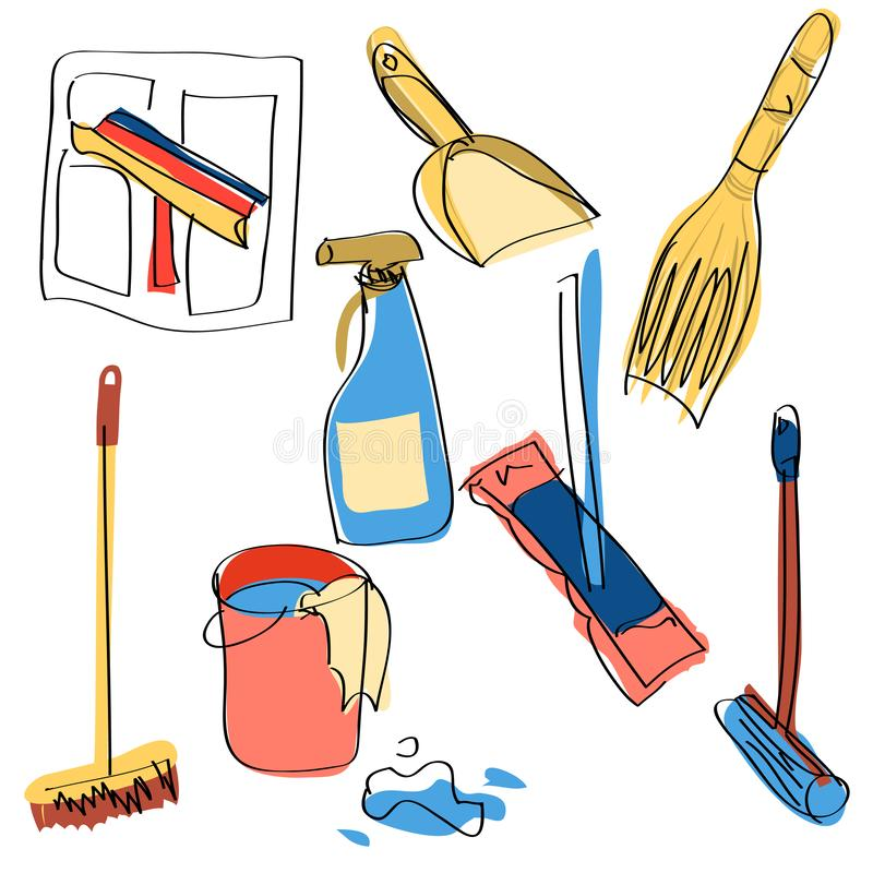 Set domów czyści narzędzia ilustracji