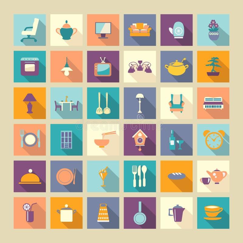 Set domowi powiązani ikona elementy ilustracja wektor