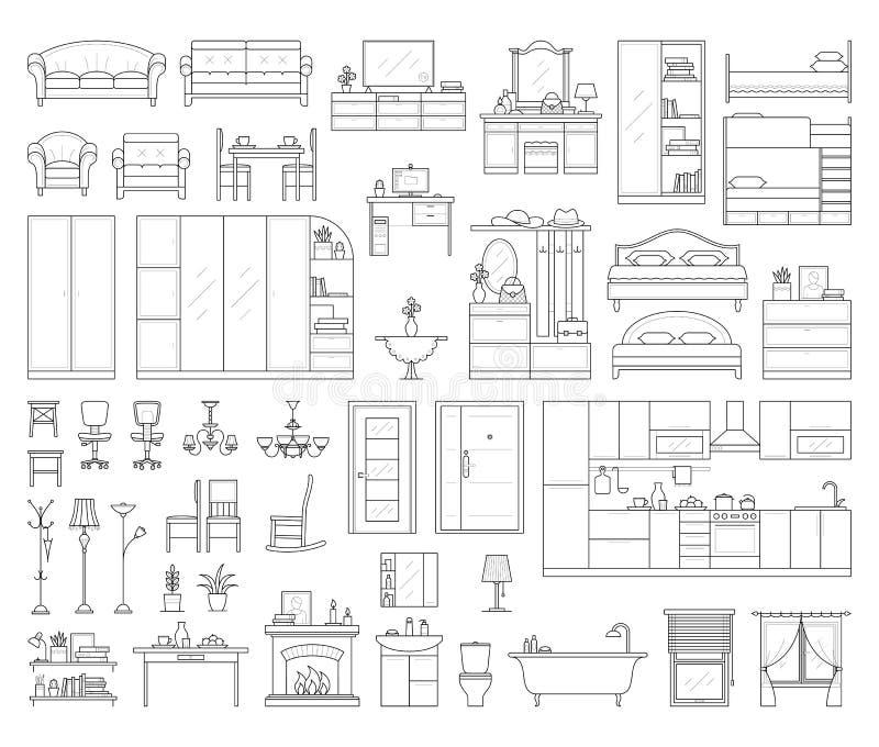 Set domowy wewnętrzny meble ilustracji