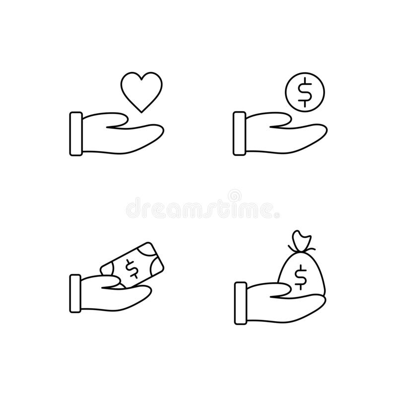 Set of donation line icon design vector. Care people illustration design. Gesture hand with money donation sign vector. Black outl vector illustration