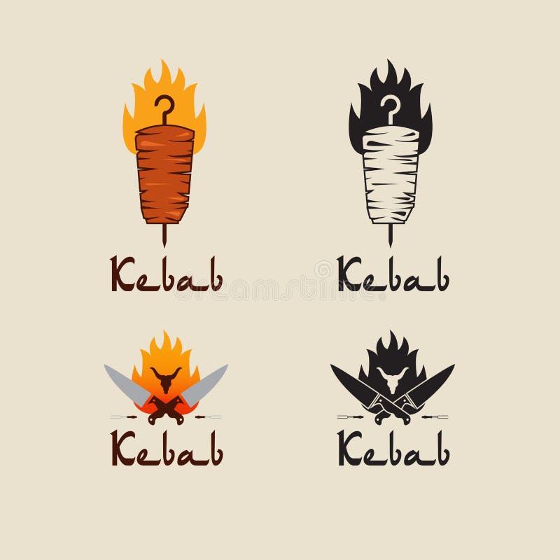 Set doner kebabu loga szablony Wektorowe kreatywnie etykietki dla Tureckiej i Arabskiej fast food restauraci ilustracji
