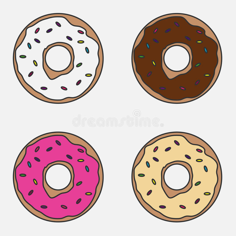 A set of donuts royalty free illustration