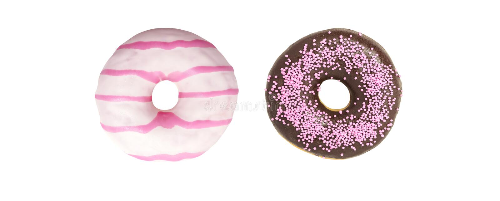 Set Donuts on white background. Assorted Do nuts on white Background, various do nuts royalty free stock image