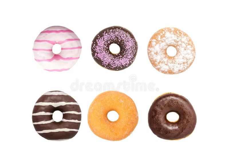 Set Donuts on white background, Assorted Donuts royalty free stock photos