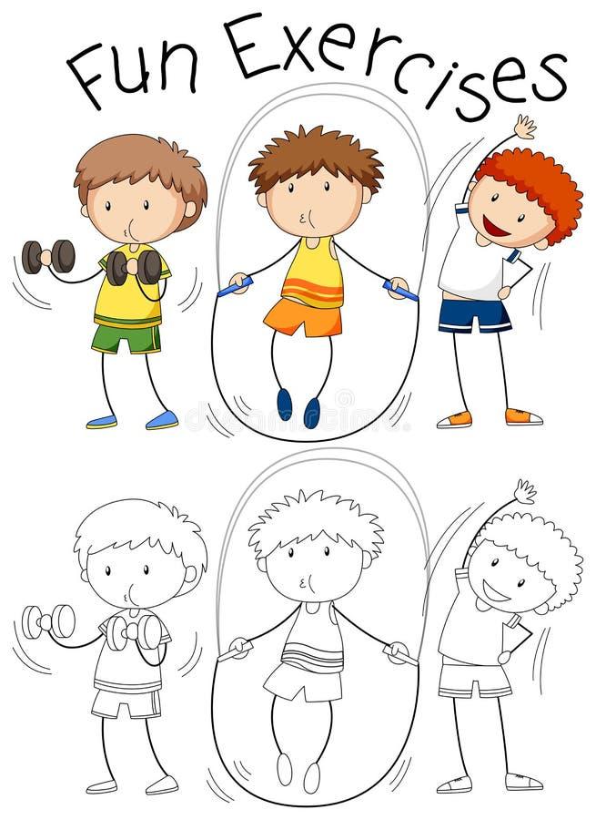 Set doodle ćwiczenia ludzie ilustracja wektor