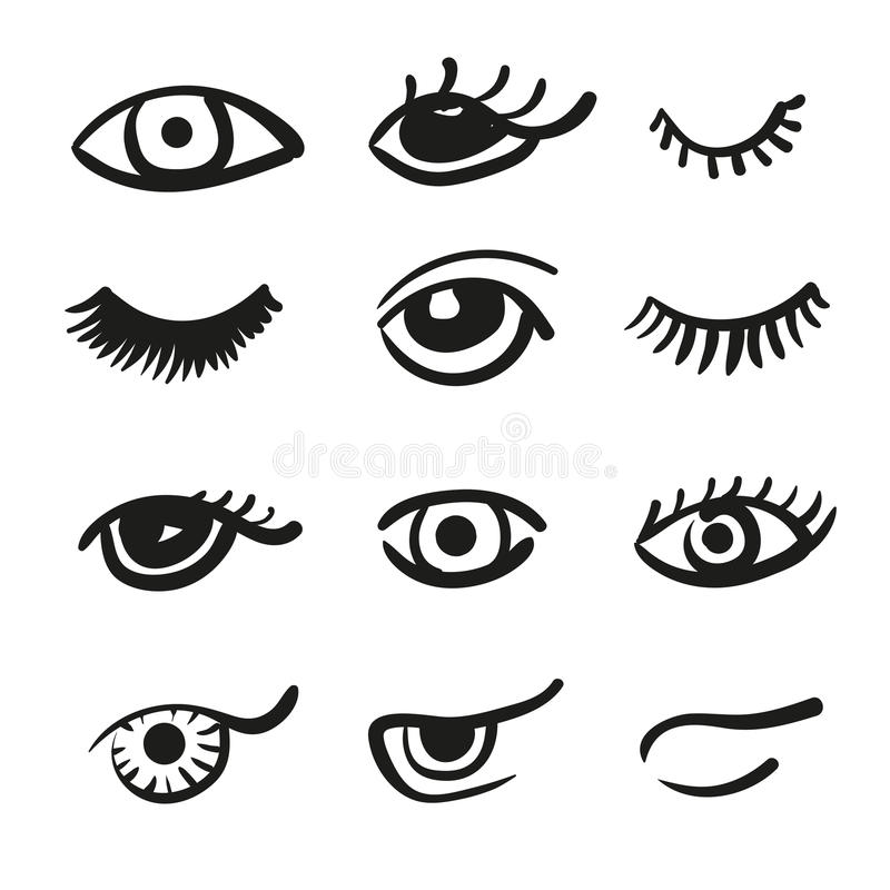 Set doodle baty i oczy ilustracji