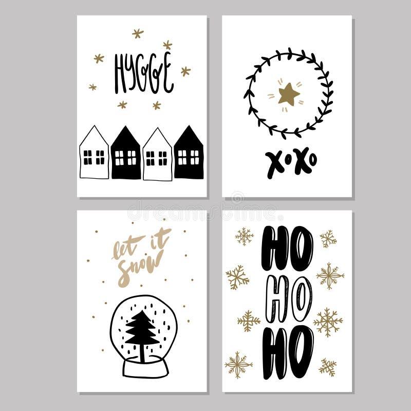 Set doodle bożych narodzeń kartka z pozdrowieniami Wektorowa ręka rysować śliczne ikony Skandynawa styl Xmas drzewo, domy, girlan royalty ilustracja
