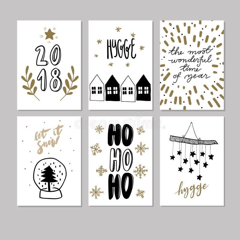 Set doodle bożych narodzeń kartka z pozdrowieniami Wektorowa ręka rysować śliczne ikony Skandynawa styl Xmas drzewo, domy, girlan ilustracja wektor