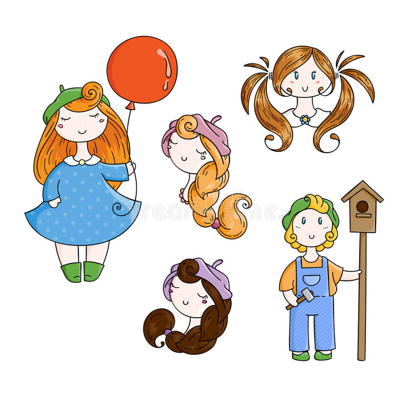 Set of doodle children. Boy with birdhouse, cute girls. vector illustration