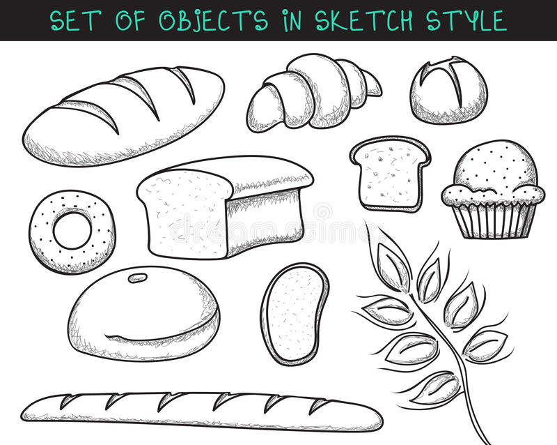 Set 10 doodle chleba pieczenie Nakreślenie chleb Doodle baguette ilustracji