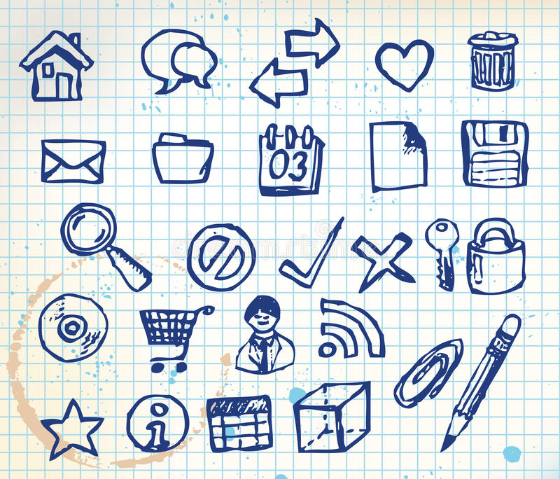 Download Set Of Doodle Computer Icons Stock Photo - Image: 13204460