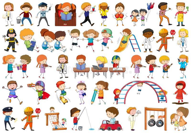 Set doodle dzieci ilustracja wektor